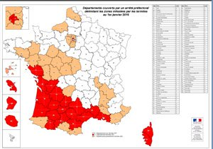 Carte infestation termites BOUCHES DU RHONE